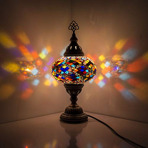 Lámpara turca (20 variaciones) – Lámpara de mesa de mosaico hecha a mano – Lámpara decorativa marroquí – Lámparas rústicas frescas – Lámpara de cristal manchado (17)