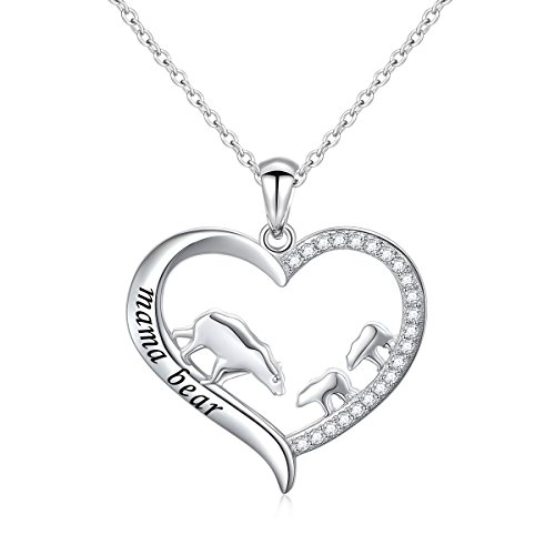 DAOCHONG Mother and Child S925 Sterling Silver Mama Bear with Cub Heart Pendant Necklace for Family (2 cubs)