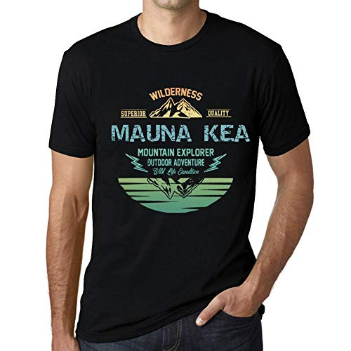 Herren Tee Männer Vintage T-Shirt Mountain Explorer Mauna KEA Noir Schwarz