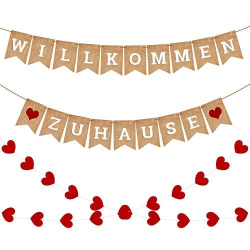 iZoeL WILLKOMMEN ZU Hause Girlande Rustikal Banner mit Herzen Girlande 4meter Thanksgiving Decor Familientreffen Family Party Dekorationen (Karton Banner)