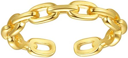 18K Gold Plated Sterling Silver Chain Link Ring Simple Stacking Band Open Rings for Women Adjustable product image