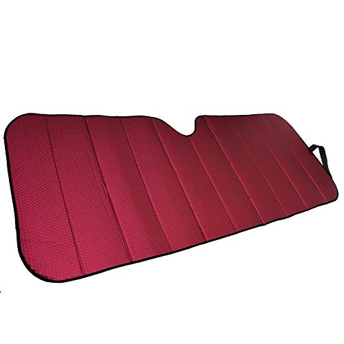 Motor Trend Front Windshield Sun Shade - Jumbo Accordion Folding Auto Sunshade for Car Truck SUV - Blocks UV Rays Sun Visor Protector - Keeps Your Vehicle Cool - 66 x 27 Inch (Red)