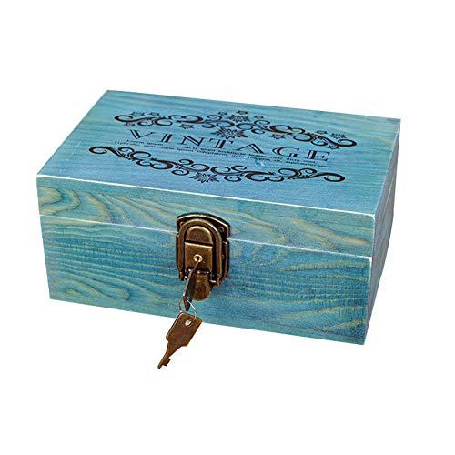 Caja de Madera con Cerradura Vintage, Caja de Recuerdos de Madera, Caja de Madera Decorativa...
