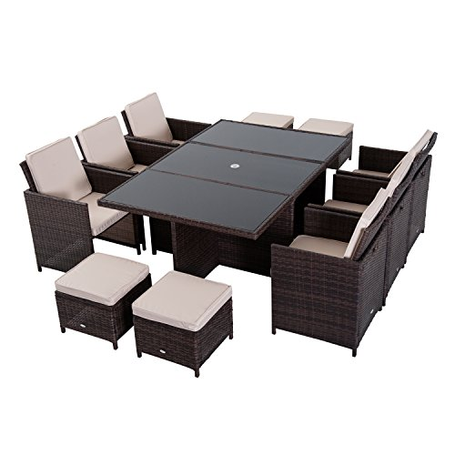 Outsunny Outdoor 11pc Rattan Garden Furniture Patio Dining Set 10-seater Cube Sofa Weave Wicker 6 Chairs 4 Footrests & 1 Table Brown