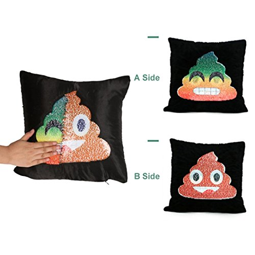 Dos Side Emoji de lentejuelas funda para cojín, INDEXP Funny Reversible mano deslizante cambio de cara Magic Kids regalo decoración para el hogar funda de almohada