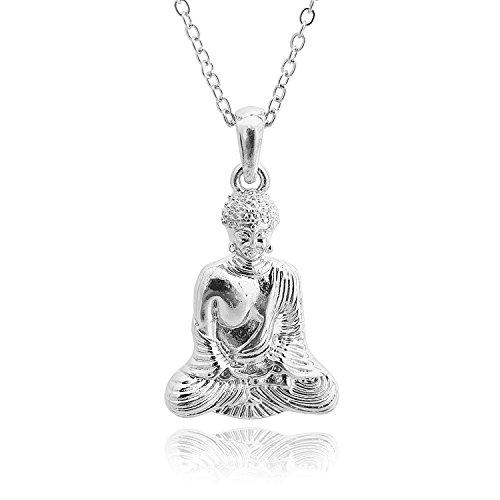 chelseachicNYC High Gloss Serene Buddha Necklace (Silver)