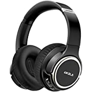 Active Noise Cancelling Headphones, AIKELA Wireless Bluetooth Over Ear Headset with Deep Bass Hi-Fi Sound Soft Earbuds 30H Playtime Fast Charging ANC Headphone for Online Class Travel Home Office