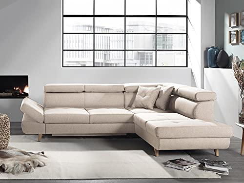 Bestmobilier - Linea - Canapé d'angle Droit Convertible scandinave - L 252 x P 190cm