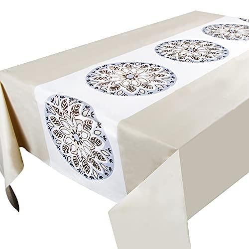 Mantel Mesa Plástico 137x183cm Impermeable Antimanchas Rectangular Patrón Flor para Banquetes Fiestas Navidad Bodas Bautizo Picnics Bufé Cumpleaños Barbacoas