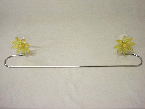 Desconocido TOALLERO Barra Pared Simple Curvado Metal Cromado con VENTOSAS Flor Amarillo