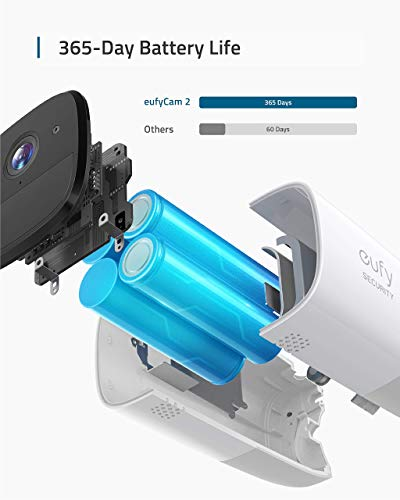 eufy Security eufyCam 2 Wireless Home Security Camera System, 365-Day Battery Life, HD 1080p, IP67 Weatherproof, Night Vision, Compatible with Amazon Alexa, 2-Cam Kit, No Monthly Fee(Renewed)
