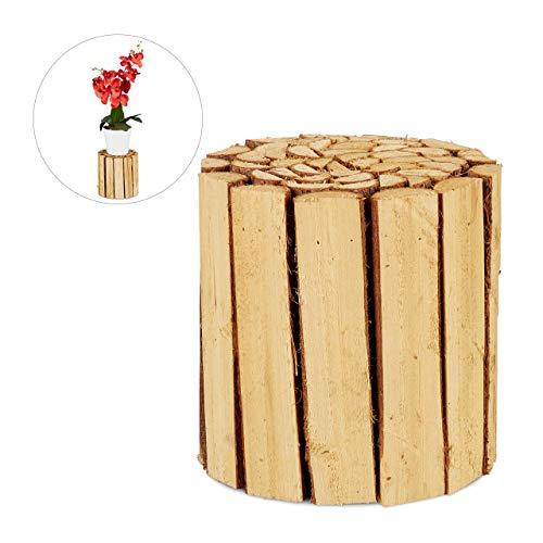 Relaxdays Blumenhocker, Holz, rund, naturbelassen, für Blumentöpfe, Pflanzkübel, Blumenständer HxD: 20,5 x 20 cm, natur