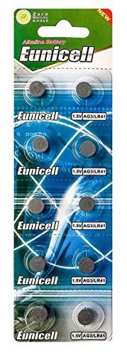 AG3 (1 Blistercard = 10 Batterien) 1,5V Alkaline Markenware Eunicell