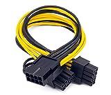 2 cables de alimentación PCI-E de 8 pines a 2 PCI-E de 8 pines (6 pines + 2 pines), divisor PCI Express conector de tarjeta gráfica PC Cable de alimentación GPU tarjeta de video, 30 cm