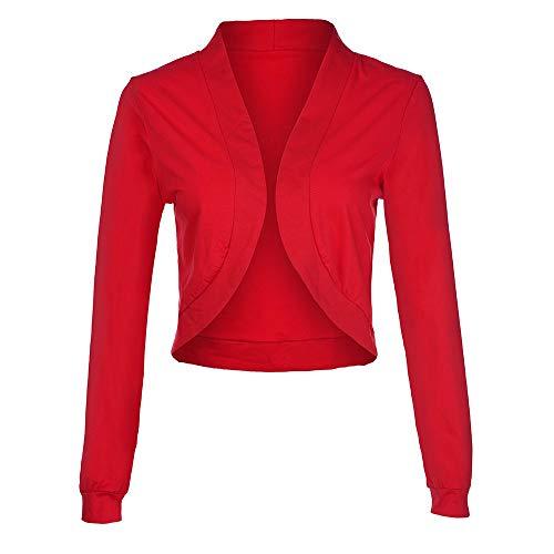 Lazzboy Damen Offene Strickjacke Kurz Baumwolle Übergangs Mantel Softshell Parka Jacke Outwear (Rot,40)