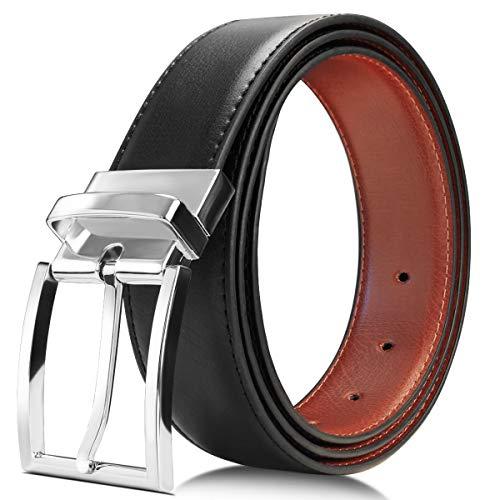 OTISA Herren Leder Gürtel Business Jeansgürtel Metall Retro Style, Schwarz, 125cm