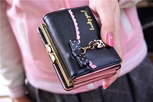 QAZW Monederos Mujer Cuero Gran Capacidad Billetera Corta con RFID Bloqueo Multi Ranuras Regalo Cartera Señoras Titular Tarjeta,Black-10.5 * 8cm