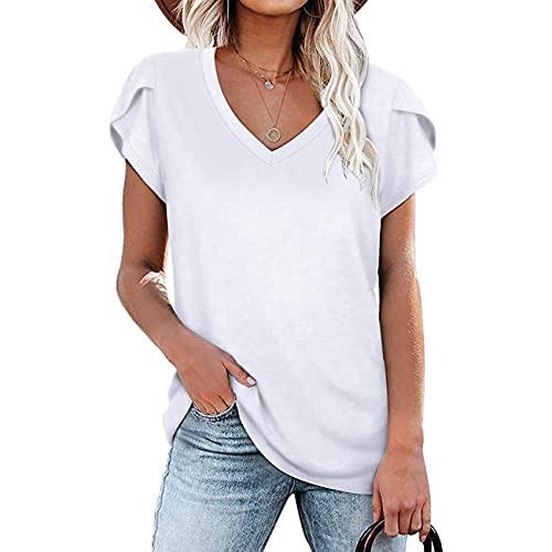 WXMSJN T-Shirt D'éTé à Manches Courtes Col V De Couleur Unie pour Femmes
