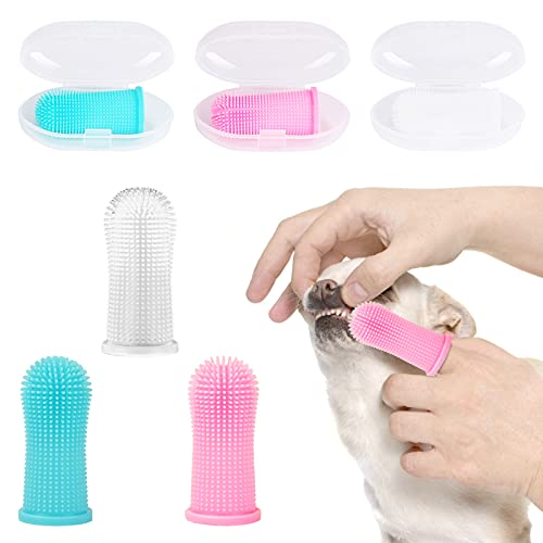 WIOR Dog Toothbrush, 6 Pcs 360º Dog Finger Toothbrush Kit Soft Silicone Dog Finger Toothbrush Ergonomic Small Large Breed Pet Toothbrush Full Surround Bristles Toothbrush for Puppies (Multi-Colored)