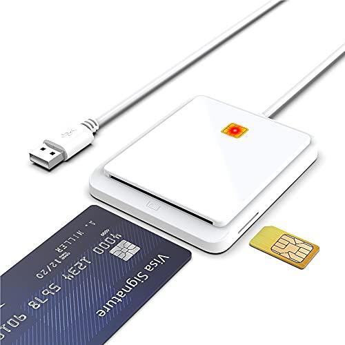 Nuwo Lector Smart Card Reader USB Dod adaptador CAC militar, tarjeta nacional y regional de los Serivzi (CNS, CRS), tarjeta sanitaria, código fiscal (TSN), firma digital, lector de tarjetas SIM.