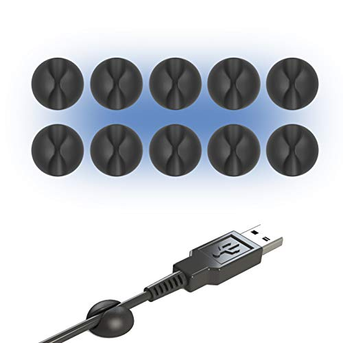DROQUIMUR. Sujetacables. Clips para cables con adhesivo. Sujeta cables organizador de escritorio. (10, Negro | Pequeño)