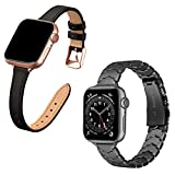 STIROLL Slim Leather and Stainless Steel Replacement Band Compatible for Apple Watch Bands 38mm 40mm, Special Wristband Women for iWatch SE Series 6/5/4/3/2/1
