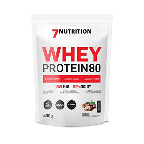7Nutrition Whey Protein 80 Concentrate Powder | Low Sugar | Glutamine | BCAA | Chocolate-Coconut| 500g