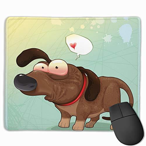 HUAYEXI Stoff Mousepad,Welpe in der Liebe Werner Hund Romantik Verwirrung Humor Karikatur Stil Haustier Graphi,Rutschfest eeignet für Büro und Gaming Maus