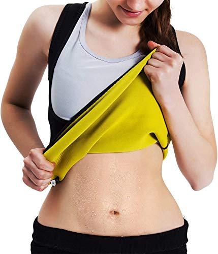 Roseate Faja Reductora Mujer Camisetas Sauna Chaleco Neopreno de Sudoración para Deporte Forma de Cuerpo y Sudor Caliente sin Cremallera M
