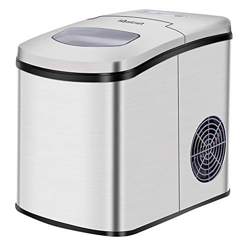 Countertop Ice Maker, Portable Countertop Ice Maker Machine, Crushed Ice Ball Maker Mold, Ice Cube Maker for Home Bar Office Party with LED Display, 9 Ice Cubes Ready in 8-10 Minutes