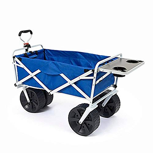 MacSports All Terrain Beach Wagon with Side Table|Heavy Duty Collapsible Folding Cart with Large Wheels for Beach Day, Picnic, Camping, Outdoor Activities | Blue/White