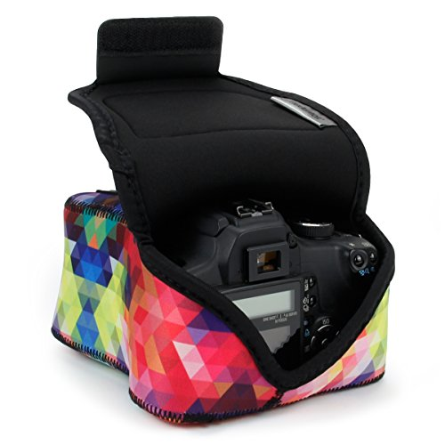 USA Gear Funda para Cámara DSLR con Protección de Neopreno, Presilla para Cinturón y Almacenamiento de Accesorios - Compatible con Nikon D3400, Canon EOS Rebel SL2, Pentax K-70 y más - Geométrico