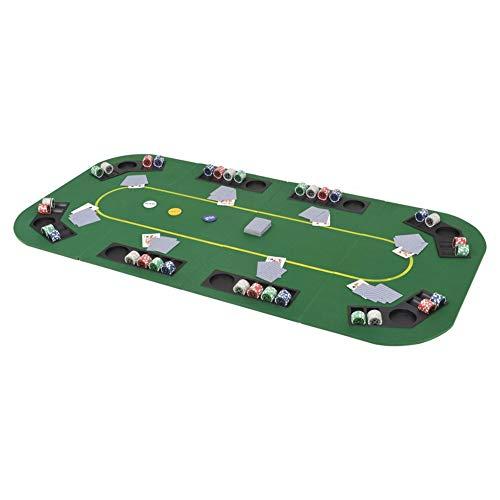 EBTOOLS Poker-Tisch, faltbar, 8 Spieler, nicht im Lieferumfang enthalten, Pokerchips und Spielkarten, faltbar, 8 Getränkehalter, rechteckig, Pokerzubehör, ideal für die Familie