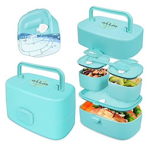 Lunch box bambini Con 3 scomparti ermetici porta pranzo bambini per porta merenda bambini, spuntino porta merenda scuola Sicuro e protetto,bento box Può essere utilizzato in microonde e frigorifero