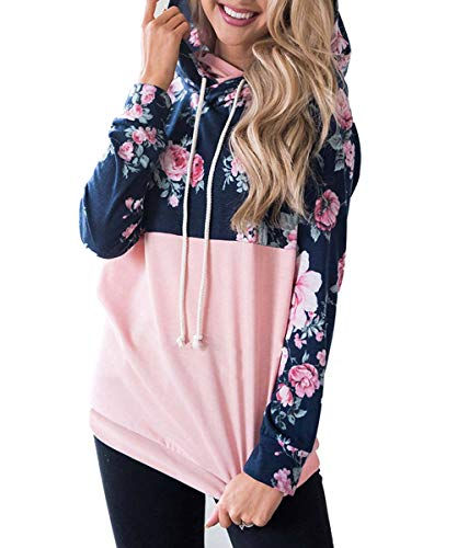Womens Floral Color Block Hoodies Long Sleeve Drawstring Casual Sweatshirts Pullover Tops with Pockets (47-Pink floral M)