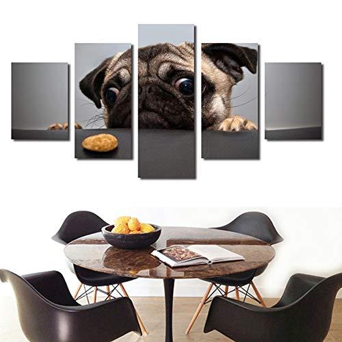 WSNDGWS Modern Five-in-one High-definition Inkjet Abstract Dierlijk Landschap Decoratie Schilderij Home Office Vrije tijd Club Schilderijen Geen Beeld Frame 20x30cmx2 20x40cmx2 20x50cmx1 F1