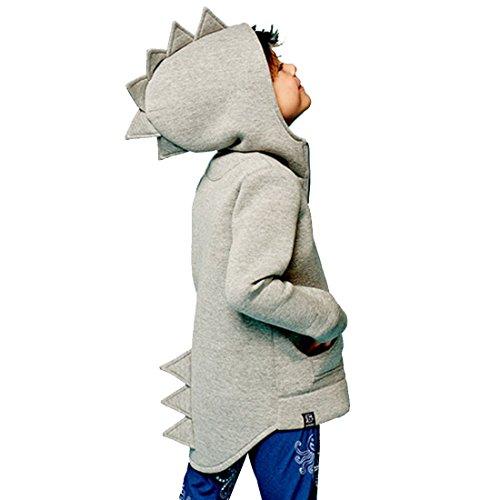 Alleen Dziecięce ubranie jesienne dinozaury z długim rękawem, top, bluza z kapturem dla chłopców w wieku 1-7 lat, szary, 120