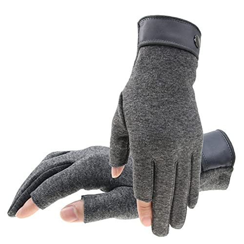 Winter Men Mitten 2 Fingers Exposed Keep Warm Touch Screen Windproof Thin Guantes Driving Anti Slip Outdoor Fishing Male Gloves - Grey,Free Size