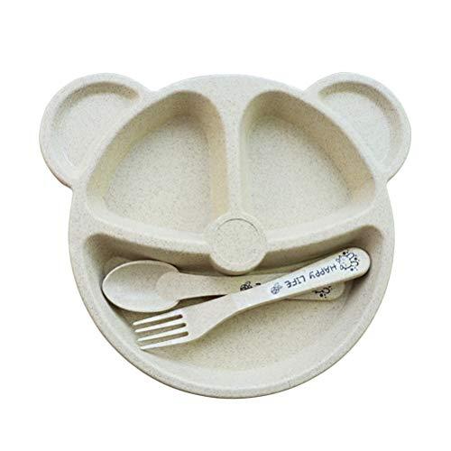 BESTonZON 3 unids/Set Bandeja de Comida con Forma de Oso de Pajita de Trigo con Forma de Comida Bandeja de Comida con Cuchara y Tenedor Tazón de Fuente de alimentación para niños niños (Beige)