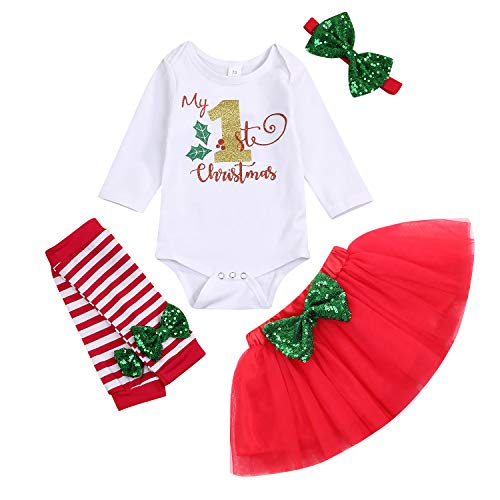 25Pcs Baby Girl My First Thanksgiving Outfit Turkey Letter Print Romper+Tutu Skirt+Love Leg Warmers+Headband Clothes Set Red