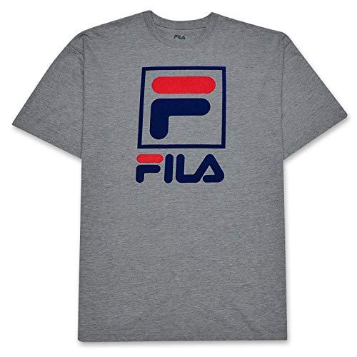 Fila Big and Tall Mens Stacked Logo Cotton T Shirt Heather Grey 2XT