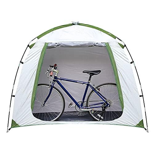 Lohca Tienda de campaña de almacenamiento para tienda de campaña impermeable cubierta plegable portátil para bicicleta refugio ahorro de espacio para jardín camping, plata