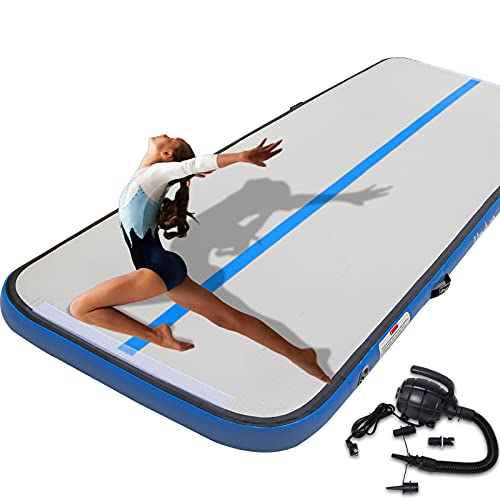 UMEKEN Inflatable Gymnastics Mat 20 FT Air Track Tumbling Mat Airtrack Tumble Gymnastic Exercise Training Mat for Home/Practice/Cheerleading/Yoga/Beach/Water/Park with Pump