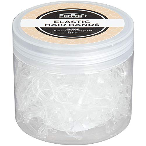 ForPro Elastic Hair Bands, Clear, Non-Damaging for Ponytails and Braids, 200-Count