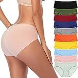 CULAYII Women's Cotton High-Cut Cool Bikini Panty, Microfiber Stretch Full Coverage Underwear - 10 Pack, S