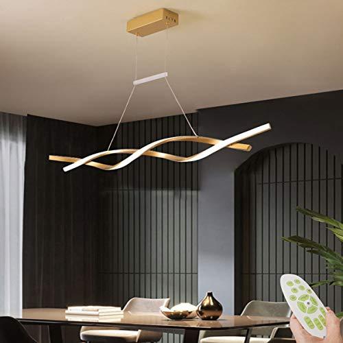 Pendelleuchte Esstisch, LED Modern Hängelampe Geschwungenes Design Lampe Metal Acryl Deckenbeleuchtung Schlafzimmerlampe Wohnraumlampe Küchelampe Decorlampe Dimmbar mit Fernbedienung (Gold, 100cm)