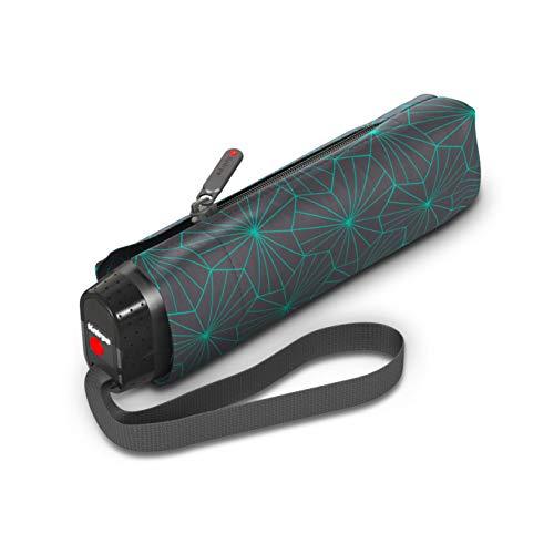 Knirps Taschenschirm TS.010 Slim Small Superthin Design – Flaches Format – Superleicht – Sturmfest – 18 cm – Lotus Iron
