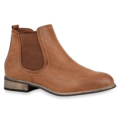 Klassische Damen Stiefeletten Chelsea Boots Leder-Optik Gr. 36-42 Schuhe 144246 Braun Braun 39 Flandell