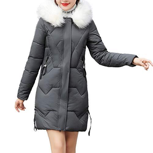 cappotto donna homebaby Homebaby Cappotto Lunghi Donna Piumino Elegante Invernali Giacca Imbottito in Cotone con Cappuccio in Pelliccia Sintetica Ragazza Slim Giubbotto Addensare Caldo Parka Outwear