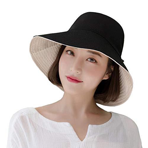 Yuccer Sonnenhut Damen uv Schutz Faltbar, Sun Hat for Women Summer Herbst Winter Hut Hiking Fischerhut mit Kinnriemen (B Schwarz)